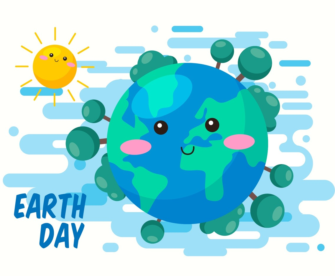 Cute Earth Day in Flat Design