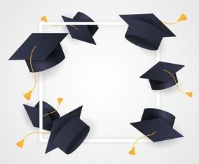 Graduation Hat Frame Background