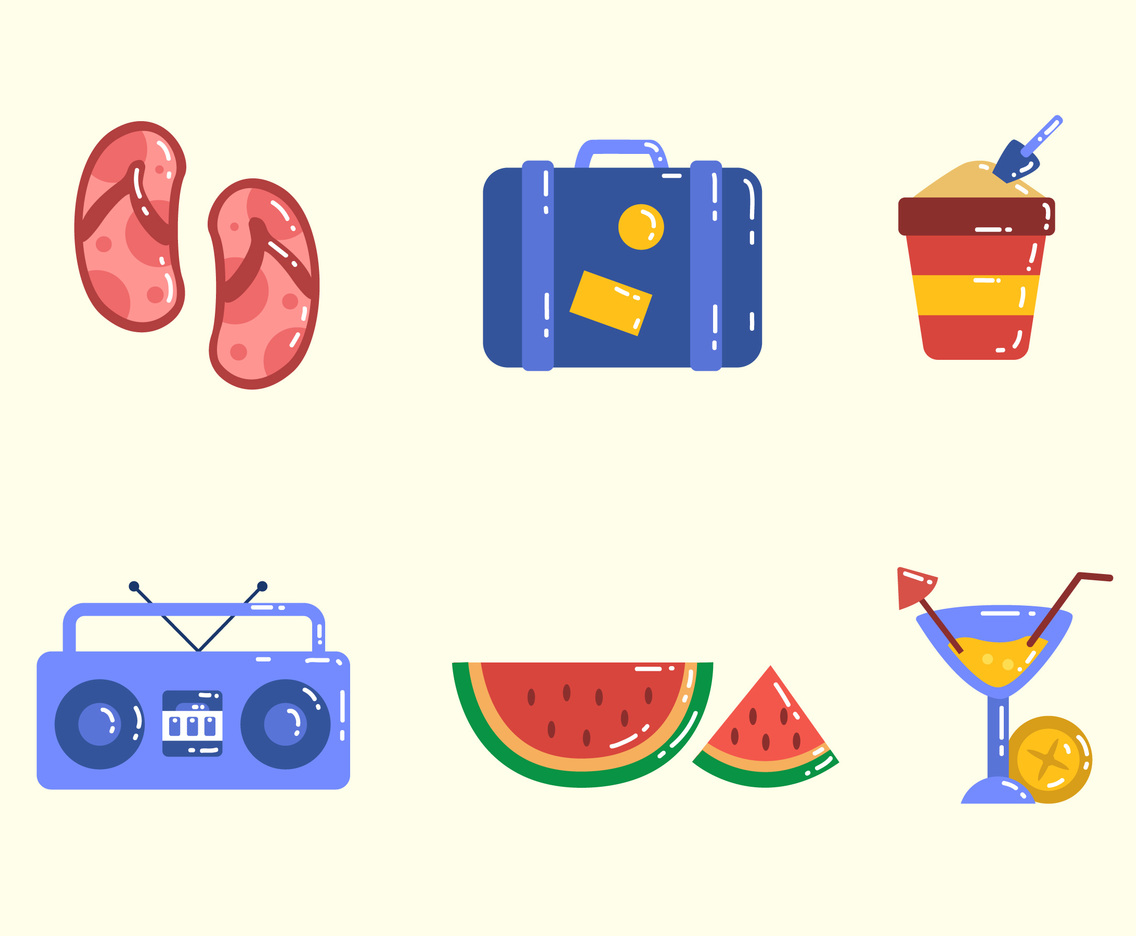 Summer Vacation Elements Icon Set