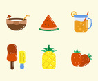 Summer Vacation Fruit and Beverage Icon Set