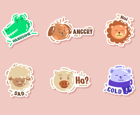 Cute Animal Character Sticker Set