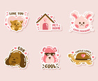 Cute Animal Pets Character Sticker Set