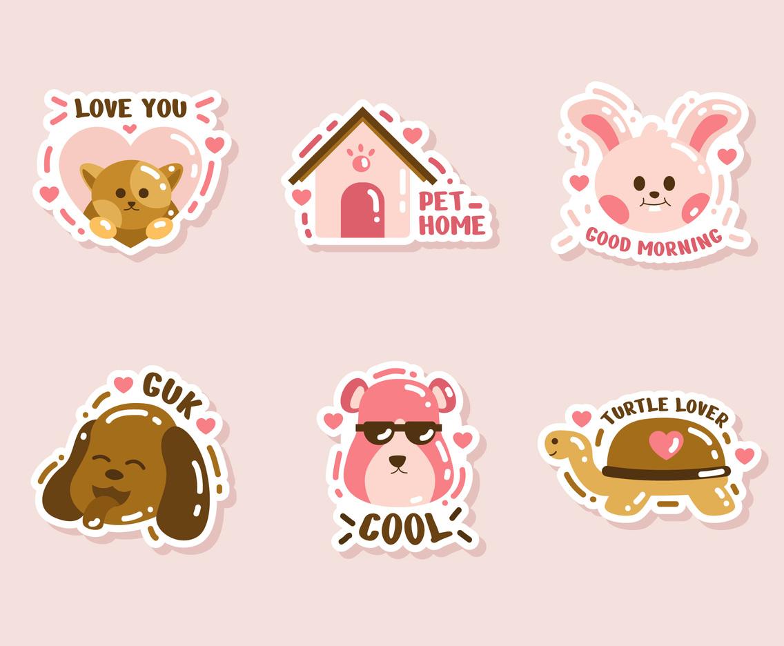 Cute Animal Pets Character Sticker Set