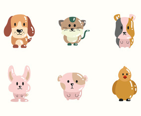 Cute Animal Pets Icon Collection