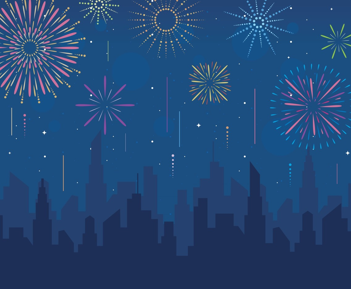 Fireworks on Skyline Illustration