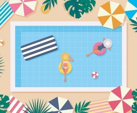 People Swimming on Summer Background