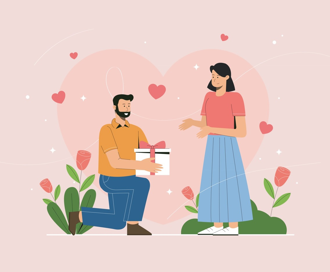 Husband Gives Present to Wife