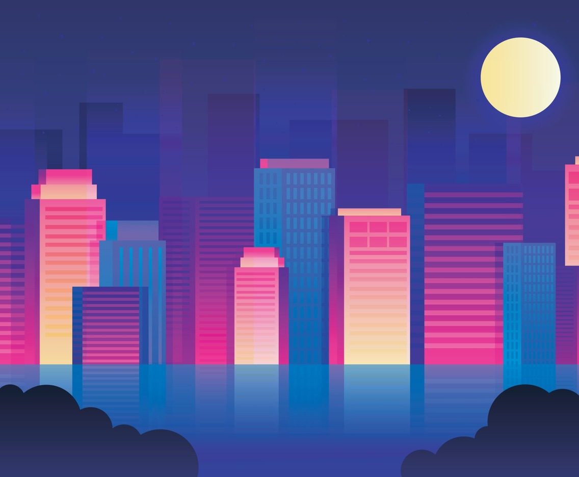 Colorful City Scenery at Night
