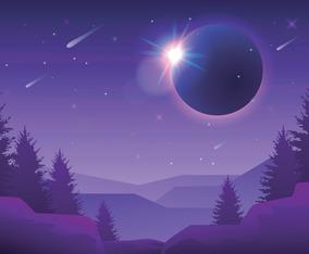 Solar Eclipse at Night Sky