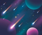 Meteor Falling on Galaxy Background