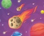 Meteor Falling on Space