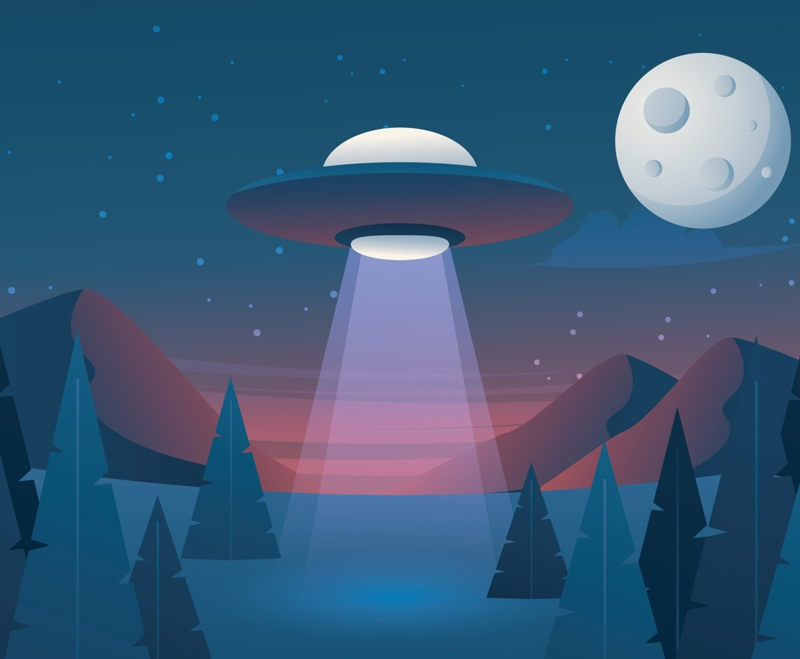 UFO at Night Background