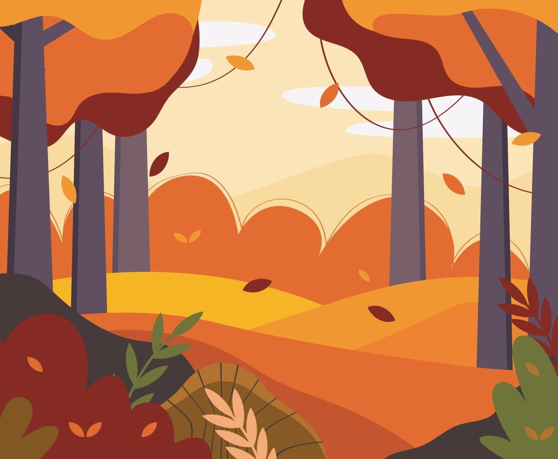 Autumn Scenery in Flat Design