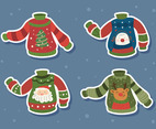 Set of Ugly Sweater Stickers