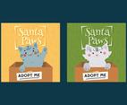 Set of Santa Paws Card